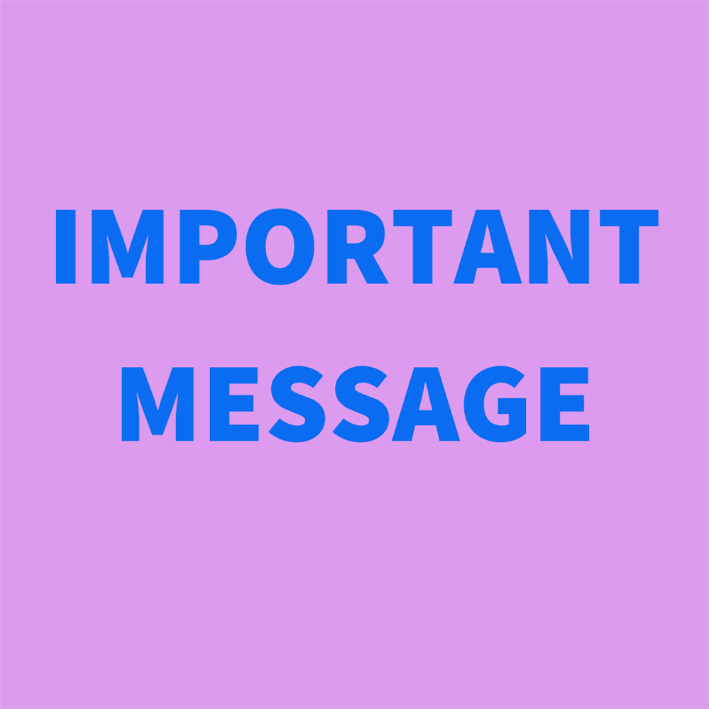 Important Message 3/15/2020