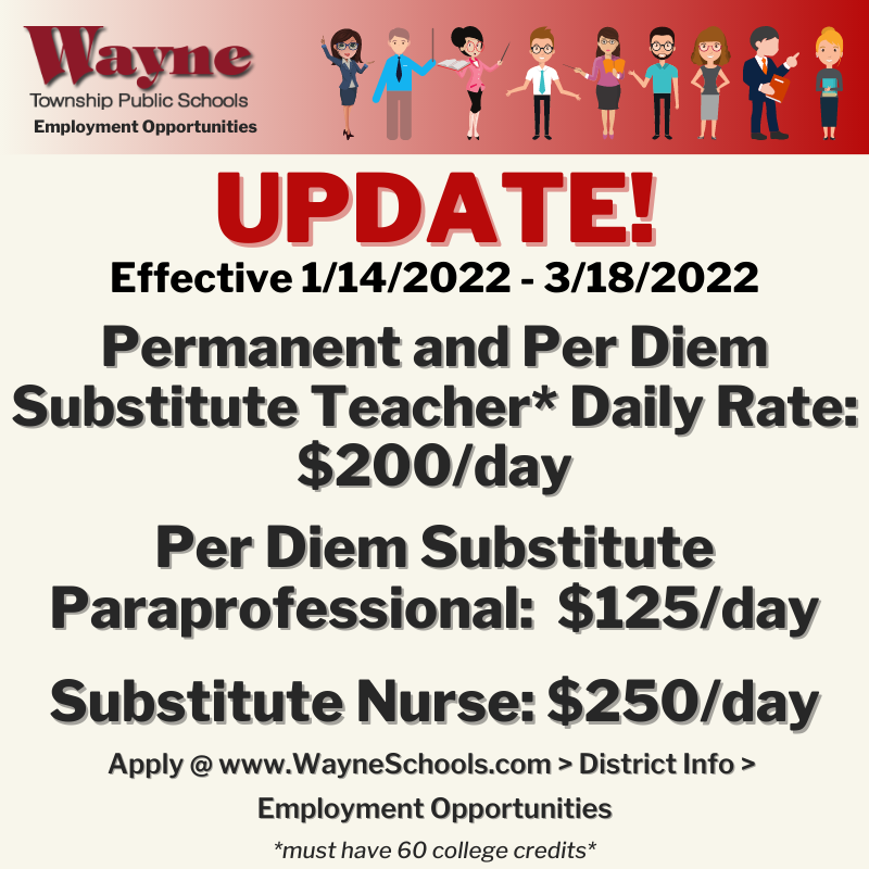 WTPS Permanent Substitute Teachers & Per Diem Substitute Teachers Rate Increased!
