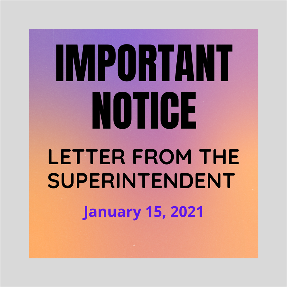 Important Notice - Letter from the Superintendent